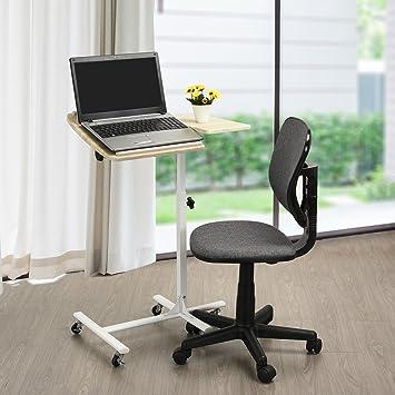 FurnitureR funda para ordenador portátil soporte para ángulo ajustable - Carro para ordenador portátil mesa para portátil con giratorio Color Negro en la ...