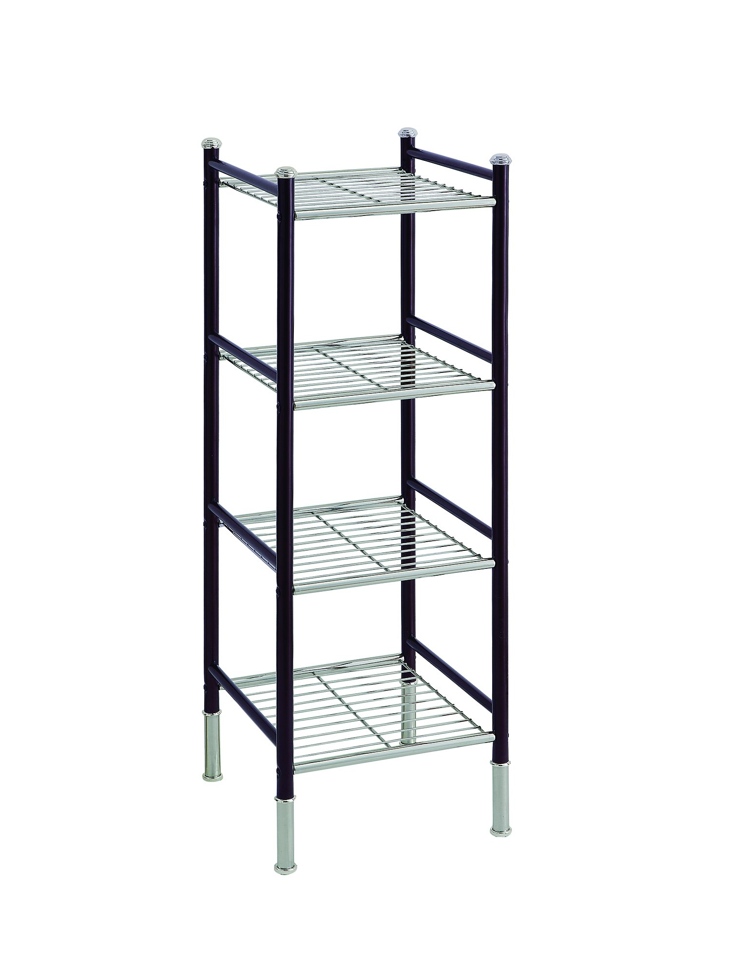 Organize It All 4 Tier Free Standing Bathroom Storage Tower, Chrome & Bronze