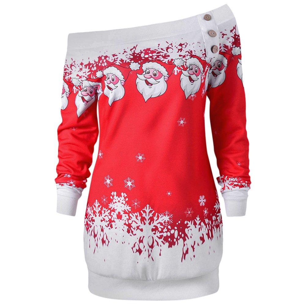 DEZZAL Women's Skew Neck Christmas Santa Claus Snowflake Pullover Sweatshirt