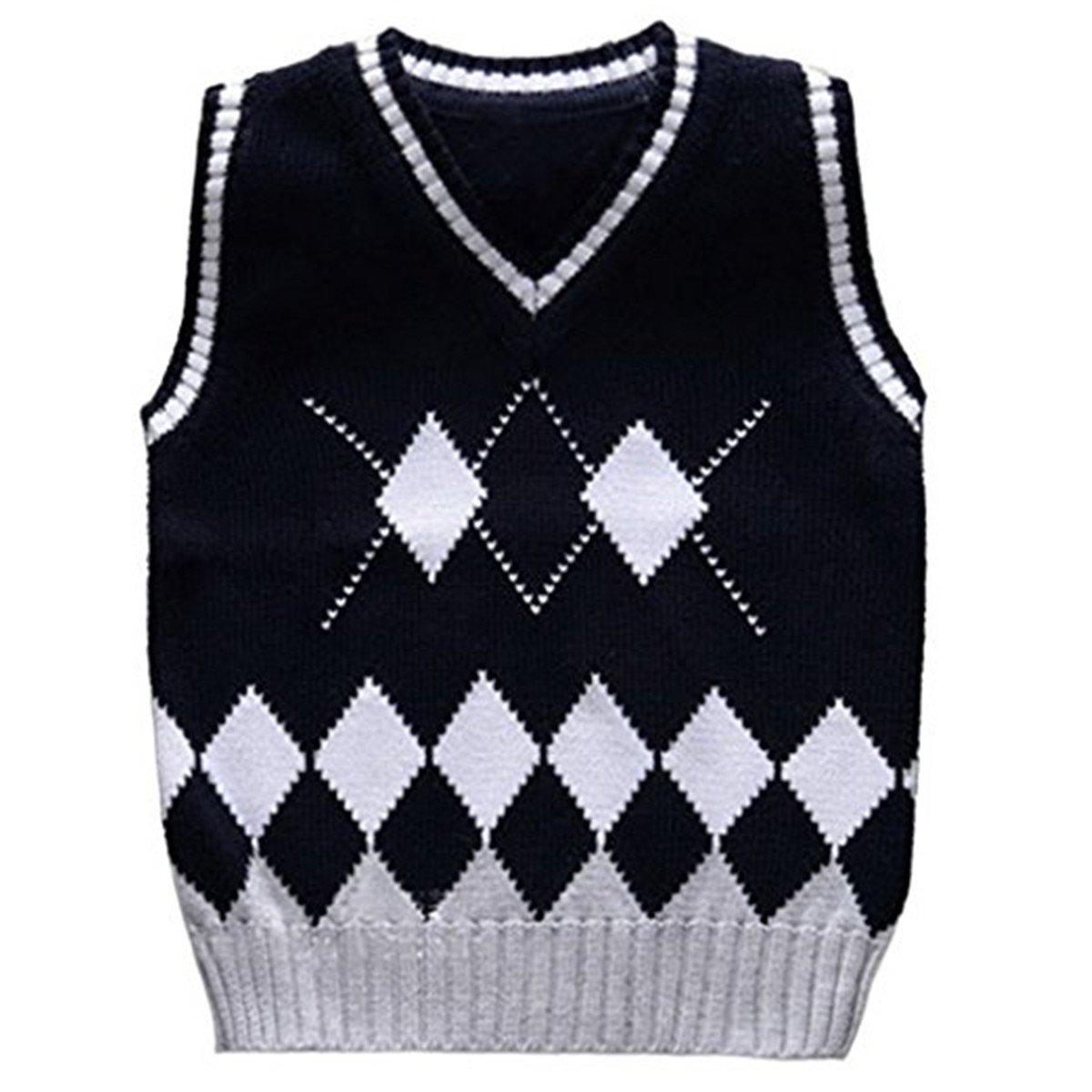 JELEUON Baby Boys Toddler V-Neck Argyle Knit Thicken Students Sweater Vest CSsNPLI1005