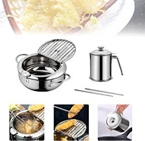 Japanese-style Tempura Deep Fryer Household Frying Pot With Thermometer Lid And Oil Drip Drainer Rack Nonstick Stainless Steel Fryer Pot Uncoated Fryer for Kitchen Cooking (2.2L+1.3L)
