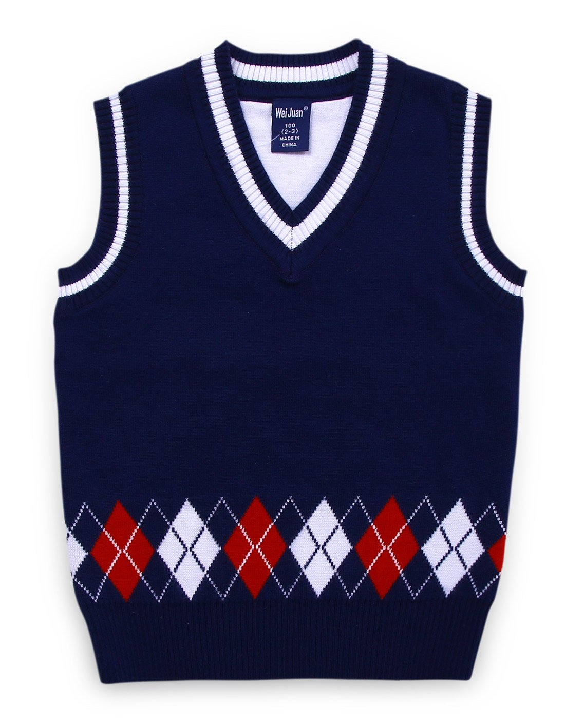 Little Boys Sweater Vest Comfortable Knit Pullover Sleeveless All Season Casual V Neck Wasitcoat 3-4T Navy Blue by Wei Juan