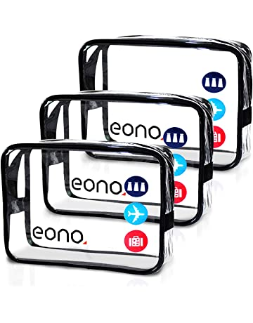 c14d0572a811 Amazon Brand: Eono Essentials Clear Toiletry Bag Travel Luggage Pouch Make  up Cosmetic Bag Brushes