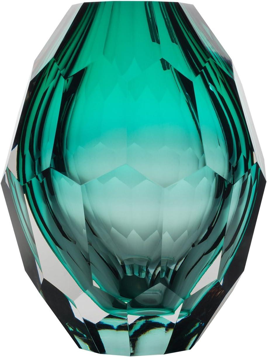 Home Decor Accent Vase Diamond Shape Solid Color Hand Blown Art Glass Vase, Turquoise