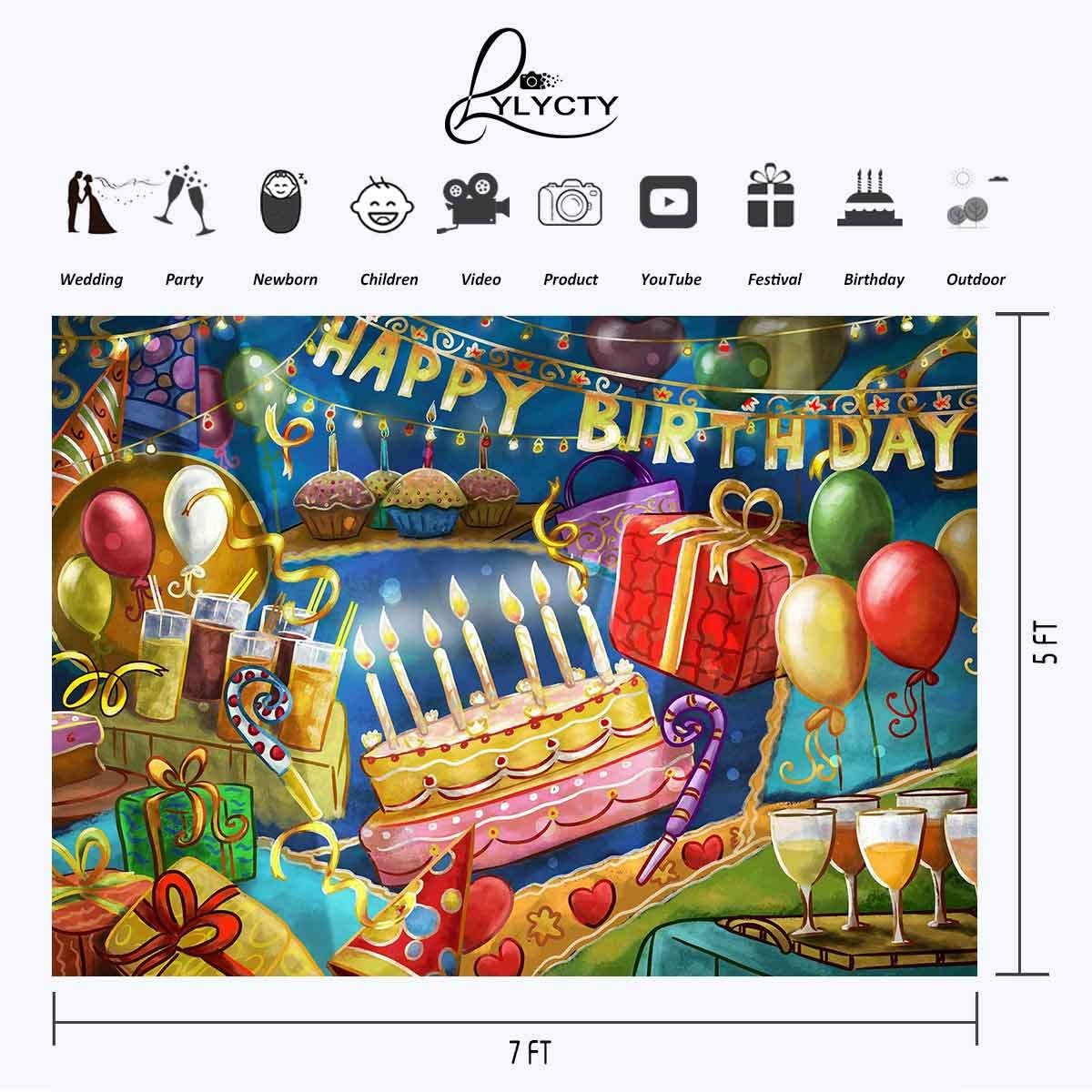 LYLY COUNTY 7/×5 FT Creative Hand-Painted Birthday Party Scene Theme Photography Photography Background Cloth Backdrop Studio Props Photography LYGE253