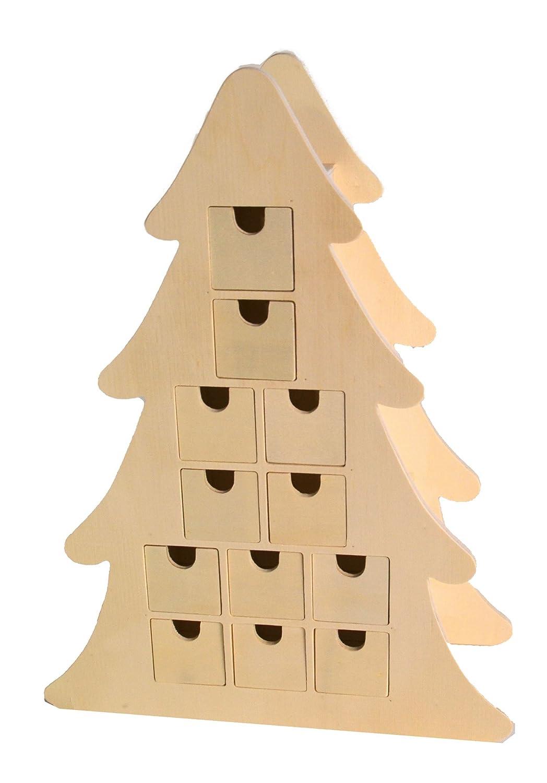Wood 40 x 11.5 x 29.5 cm Artemio Wooden Advent Calendar to Decorate Christmas tree-40cm x 29.5cm x 11.5cm