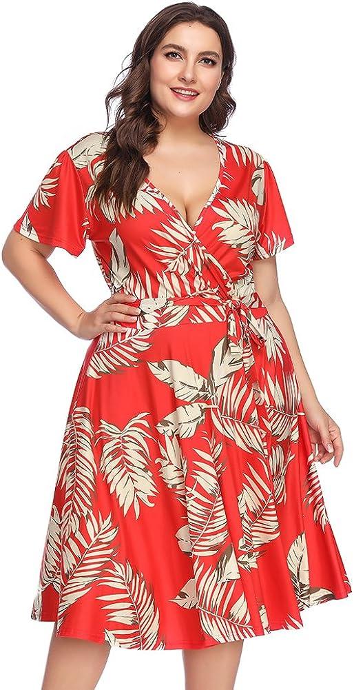 TALLA (EU50-52)2XL. Lover-Beauty Vestido Largo Mujer Talla Grande Moda Bolsillo Top Falda para Fiesta Verano Manga Corta Floral Estampada Suleto Moda de Ropa Elegante Maxi Rojo Floral Corto (EU50-52)2XL