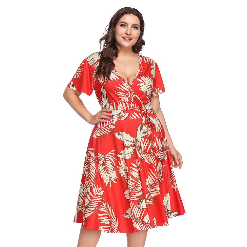 TALLA (EU54-56)3XL. Lover-Beauty Vestido Largo Mujer Talla Grande Moda Bolsillo Top Falda para Fiesta Verano Manga Corta Floral Estampada Suleto Moda de Ropa Elegante Maxi Rojo Floral Corto (EU54-56)3XL