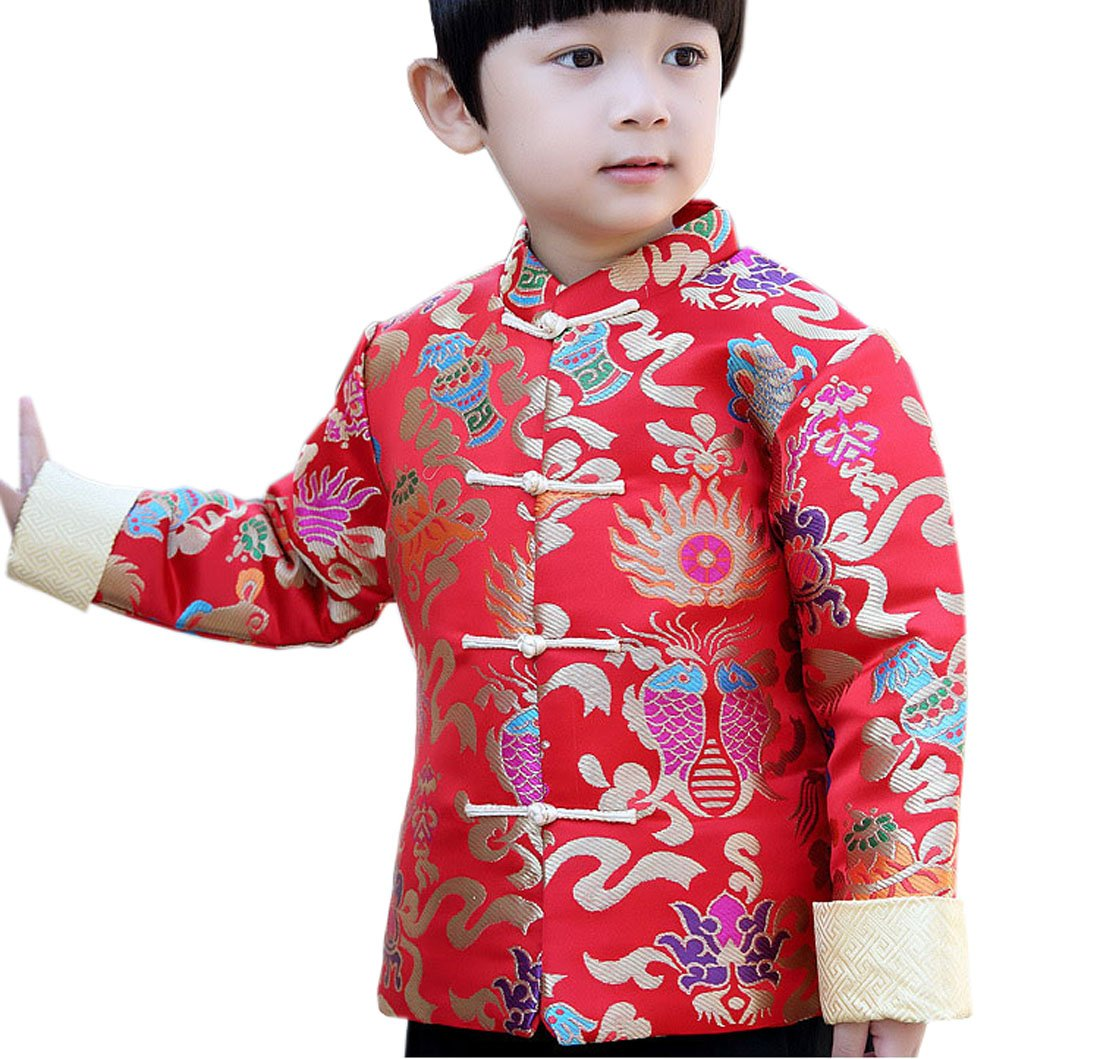 ACVIP Kids Boy's Winter Quilted Chinese Style Tang Jacket Coat (Height 110cm-120cm, Fishes)