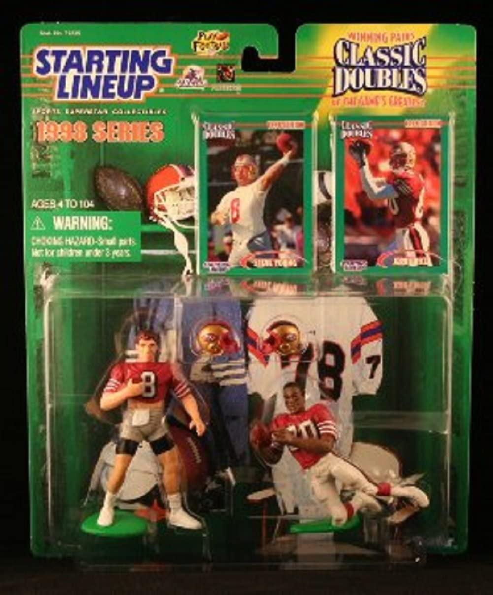 Amazon Com Starting Lineup Steve Young San Francisco 49ers Jerry Rice San Francisco 49ers 1998 Nfl Classic Doubles Winning Pairs Action Figures Exclusive Collector Trading Cards Sports