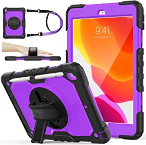 SEYMAC stock Case for iPad 8th/7th Generation, 3-Layer Protection Case with [360 Degrees Rotating Stand] Hand Strap &[Pencil Holder] for 2020/2019 iPad 8/7 Generation 10.2 Inch (Purple+Black)