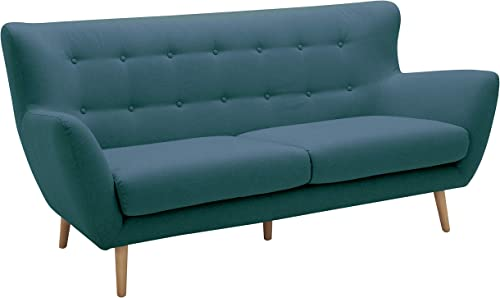 Amazon Brand Rivet Isabelle Mid-Century Modern Sofa with Tapered Wood Legs, 76 W, Aqua
