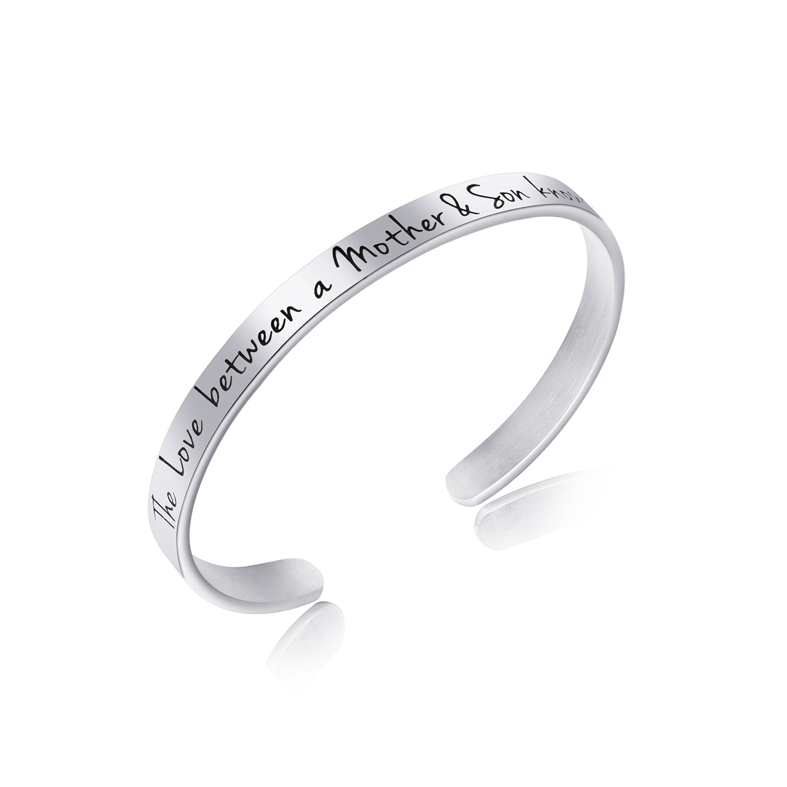 Awegift from Son Cuff Bracelet Engraved Personalized Stainless Steel Bangle Long Distance Gifts The love between a mother son knows no distance