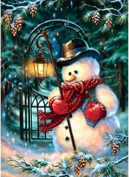 Mobicus 5d Diy Full Diamond Cross Stitch Painting Living Room Decorative Wall Stickers Wallpaper Christmas Snowman 33x45cm 13x18inch
