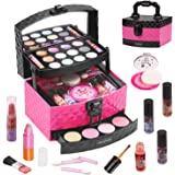 AWEFRANK 29 PCS Kids Makeup Kit for Girls, Washable Cosmetics Makeup Toy Set with Portable Makeup Box, Real Beauty Toy Set fo
