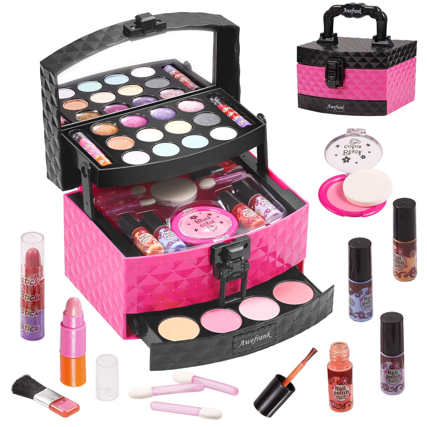 Awefrank 29 PCS Kids Makeup Kit for Girls, Washable Cosmetics Makeup Toy Set with Portable Makeup Box, Real Beauty Toy Set for Kids, Girl Pretend Play