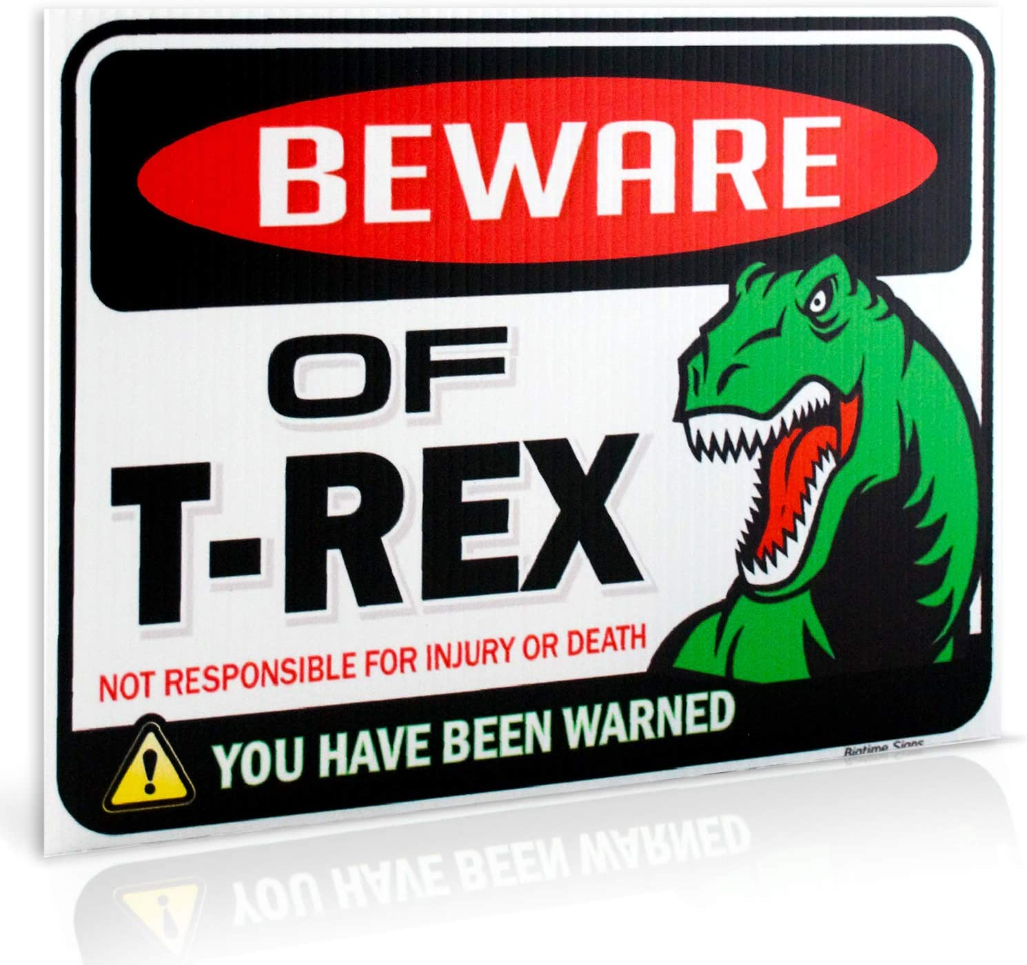 Bigtime Signs Dinosaur Sign: Beware of T Rex Warning Sign - 9 inch x 12 inch - Dino Danger Funny Gag Gifts for Window, Office, Bedroom Decor, lockers - Trex Corrugated Plastic for Indoor or Outdoor