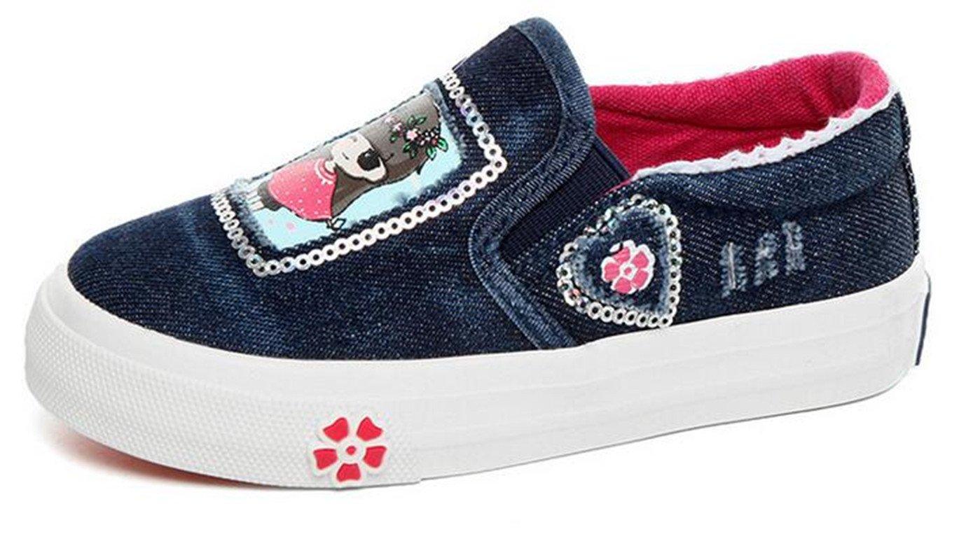 Bumud Kids Girl's Sequin Canvas Shoe Slip on Loafers (Toddler /Little Kid) (7 M US Toddler, Deep Blue)