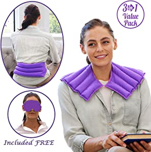 My Heating Pad Set | Microwavable Neck Wrap, Lower Back Pain and Menstrual Cramps Heat Pad, and Headache and Migraine Relief Eye Mask - Relieve Pain, Stress, and Relax Moist Heat Therapy (Purple)