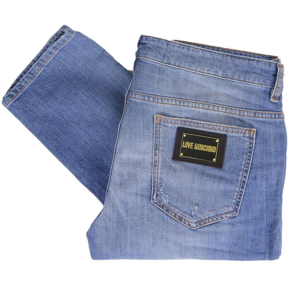 MOSCHINO MQ4218JS2194 Love Stone Wash Slim Fit Blue Jeans W30'' - L34'' Light Wash