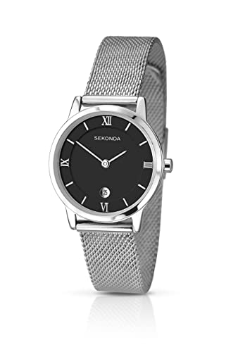 8a5a7a024cc7 Sekonda Women's Quartz Watch with Black Dial Analogue Display and Silver  Stainless Steel Bracelet 2102.27