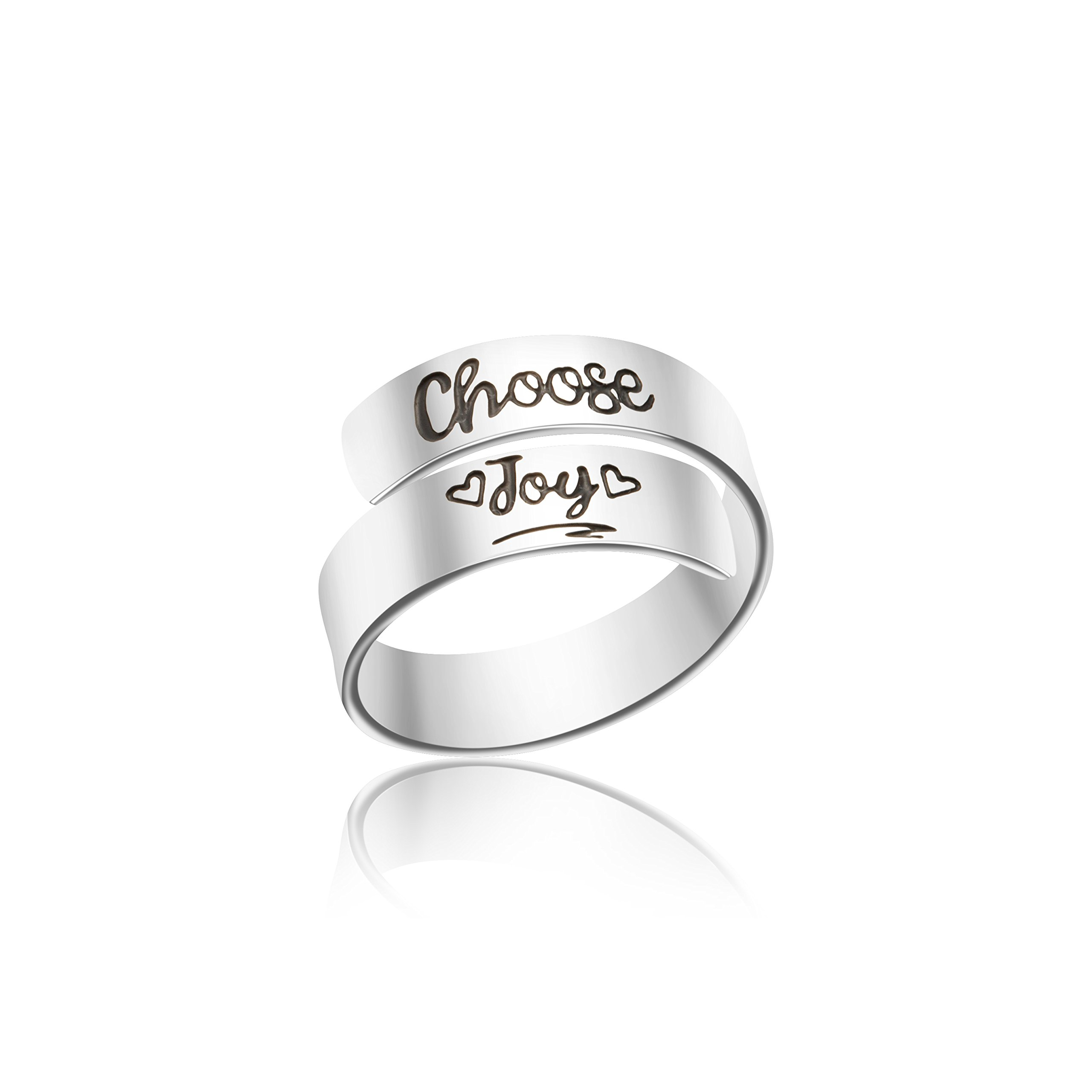 Yiyang Wrap Rings Promise Gifts Birthday Jewelry for Her Inspirational (Choose joy)