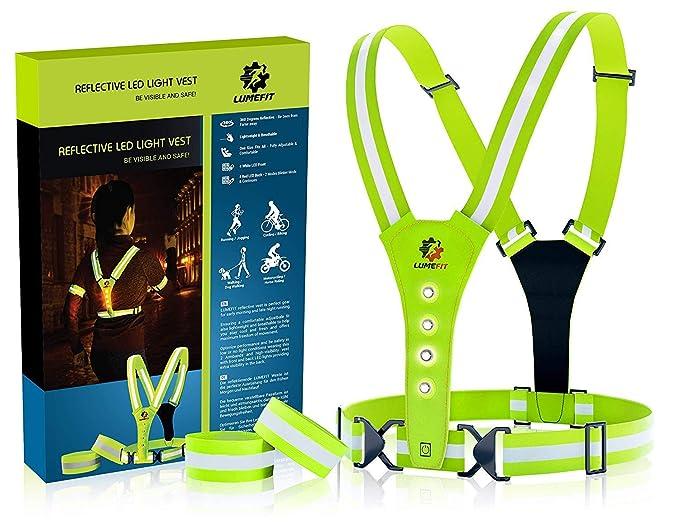 LUMEFIT Warnweste, Reflektorweste, Sicherheitsweste | Reflektierende gelbe Laufwesten mit Armbändern | High-Vis für die Siche