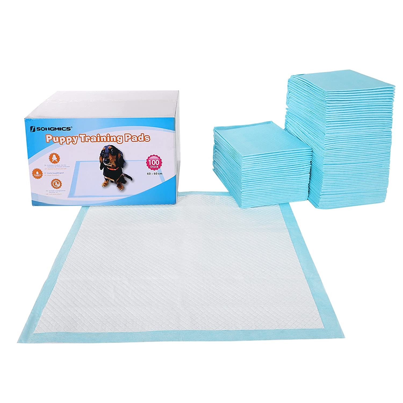 SONGMICS Lot de 100 Tapis éducateurs pour Chiots Super absorbants en 5 Couches Protection 60 x 60 cm PTD60B