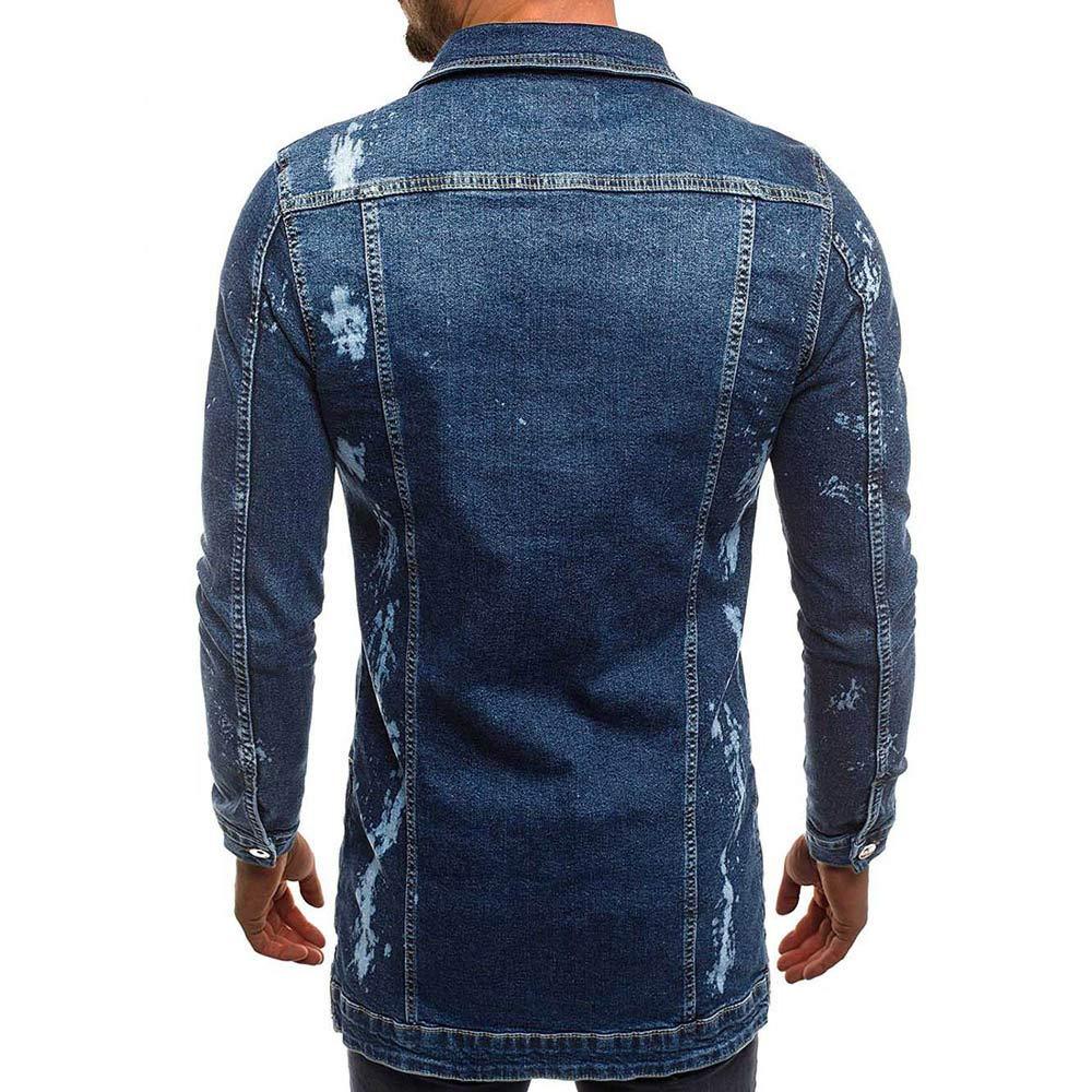 Pervobs Mens Vintage Long Sleeve Button-Down Pocket Distressed Demin Jacket Coat