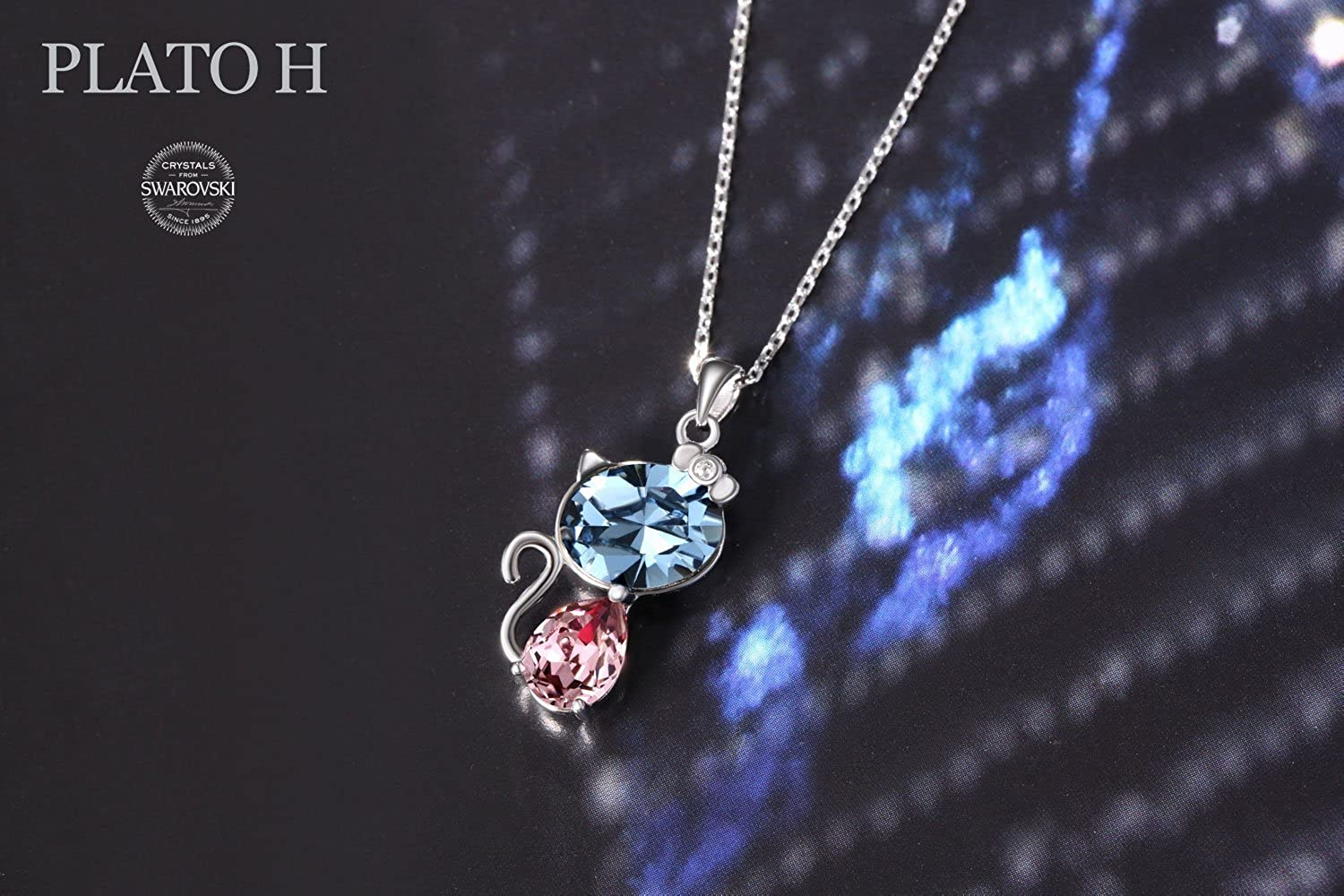 PLATO H Blue Lucky Cat Crystal Necklace with Swarovski Crystal 925 Sterling Silver Pretty Cat Pendant Necklace Cut Kitty Crystal Necklace Pure Jewelry Best Romantic for Birthday Gift