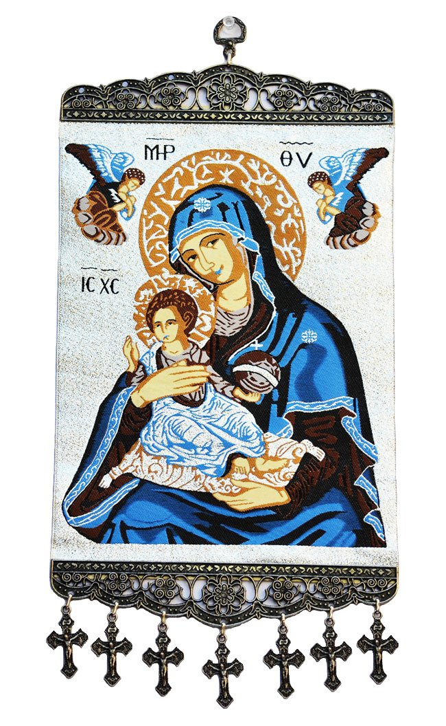 Madonna & Child with Angels Textile Art Tapestry Icon Banner Wall Decor