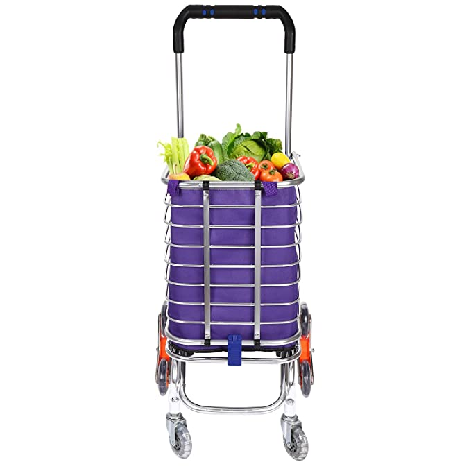 Amazon.com : Hosmat Folding Shopping Cart, Portable Stair Climbing Grocery Carts Reusable Utility Transit Cart with Swivel Wheels, Collapsible Frame, ...