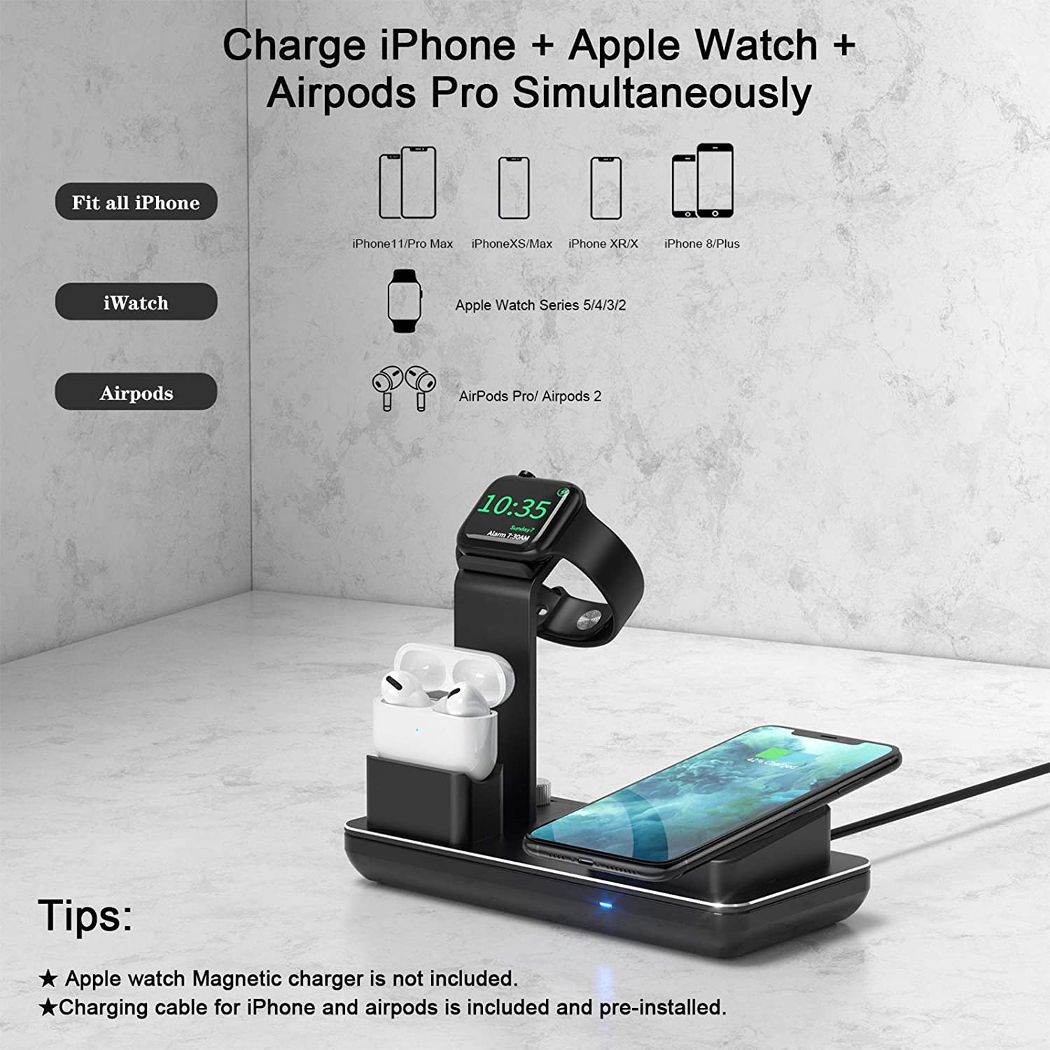 50% Off Coupon – 3 in 1 Charging Stand for iPhone Apple Watch
