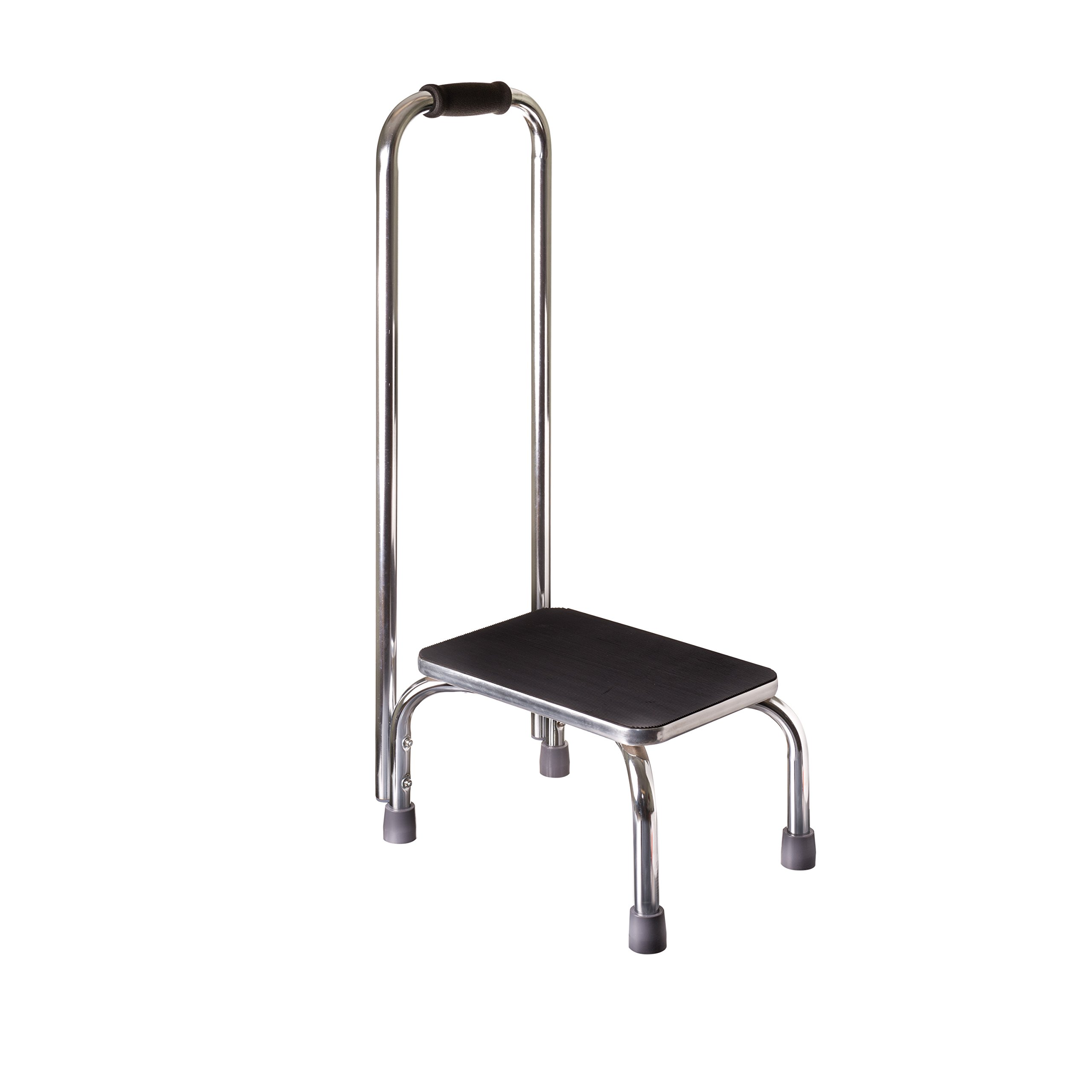 Duro-Med Step Stool with Handle, Silver and Black Medical Step Stool for High Beds, Seniors