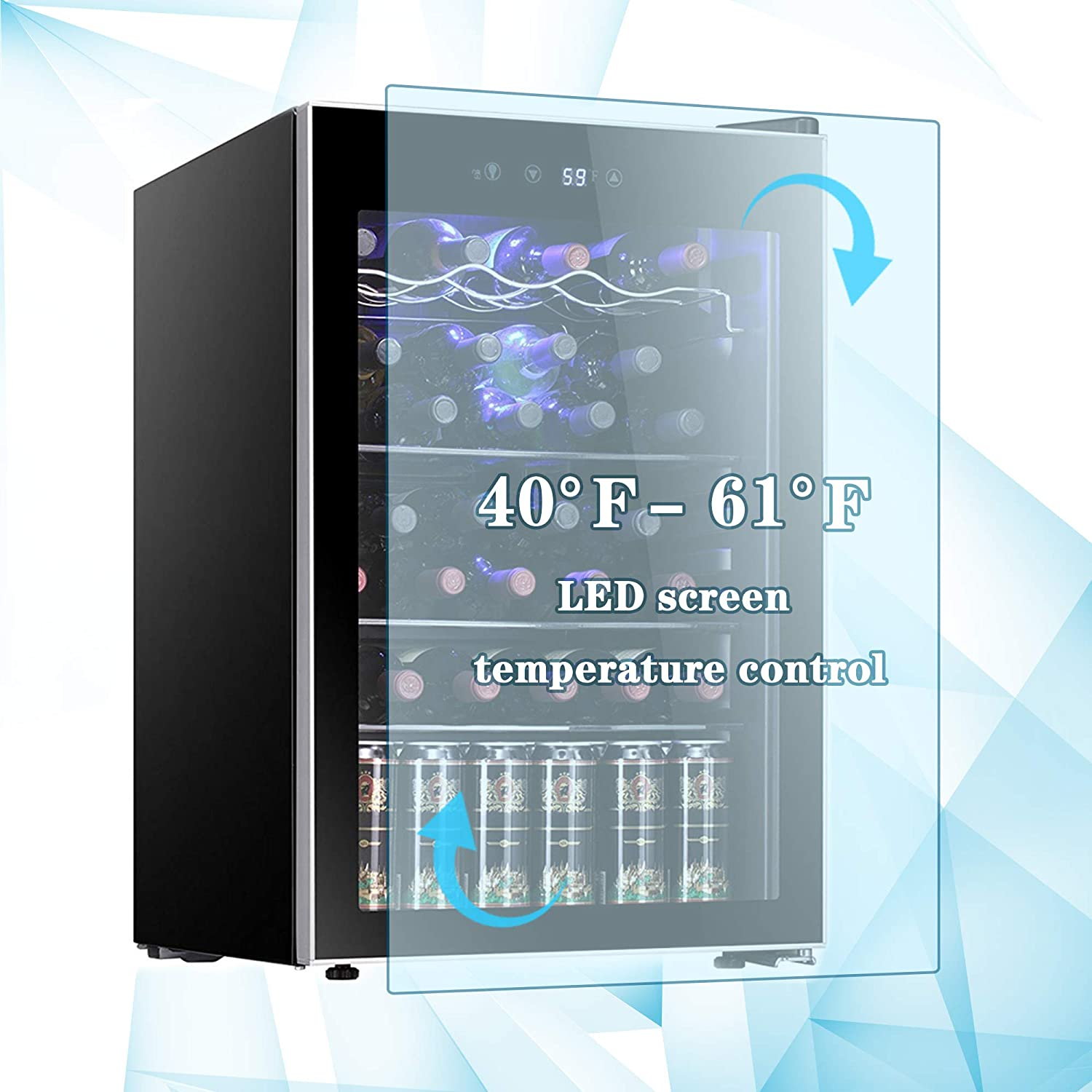 Digital Temperature Control R.W.FLAME 26 Bottle Wine Cooler Refrigerator//Small Wine Cellar//Beer Counter//Wine Showcase Single Zone Freestanding Compressor Cooling System