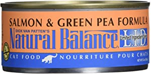 Dick Van Patten'S Natural Balance Limited Ingredient Salmon And Green Pea Canned Cat Food (Case Of 24), 5.5 Oz.