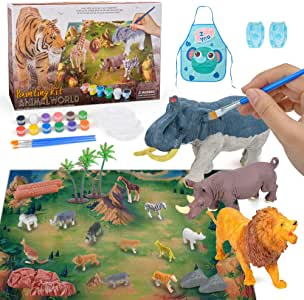 Colorshow Arts and Craft Set Animal Figurines Toys Painting Kit for Kids Boys Girls - Best Birthday Gift