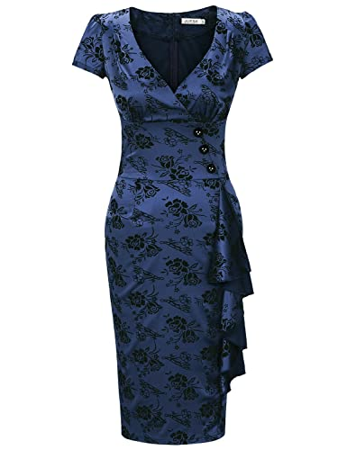 JUESE Women's 1950's Casual Office Rockabilly Cocktial Pencil Dress