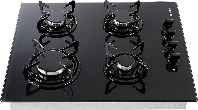 Cocina de gas Vidrio y cerámica Gas hobs 4 llamas empotrable Horno ...