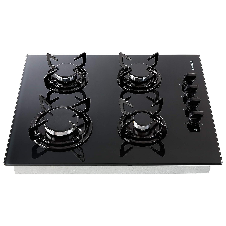 Arebos Table de Cuisson Gaz 4x Brûleurs/Vitrocéramique/Convient au gaz naturel
