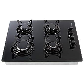 Cocina de gas Vidrio y cerámica Gas hobs 4 llamas empotrable ...