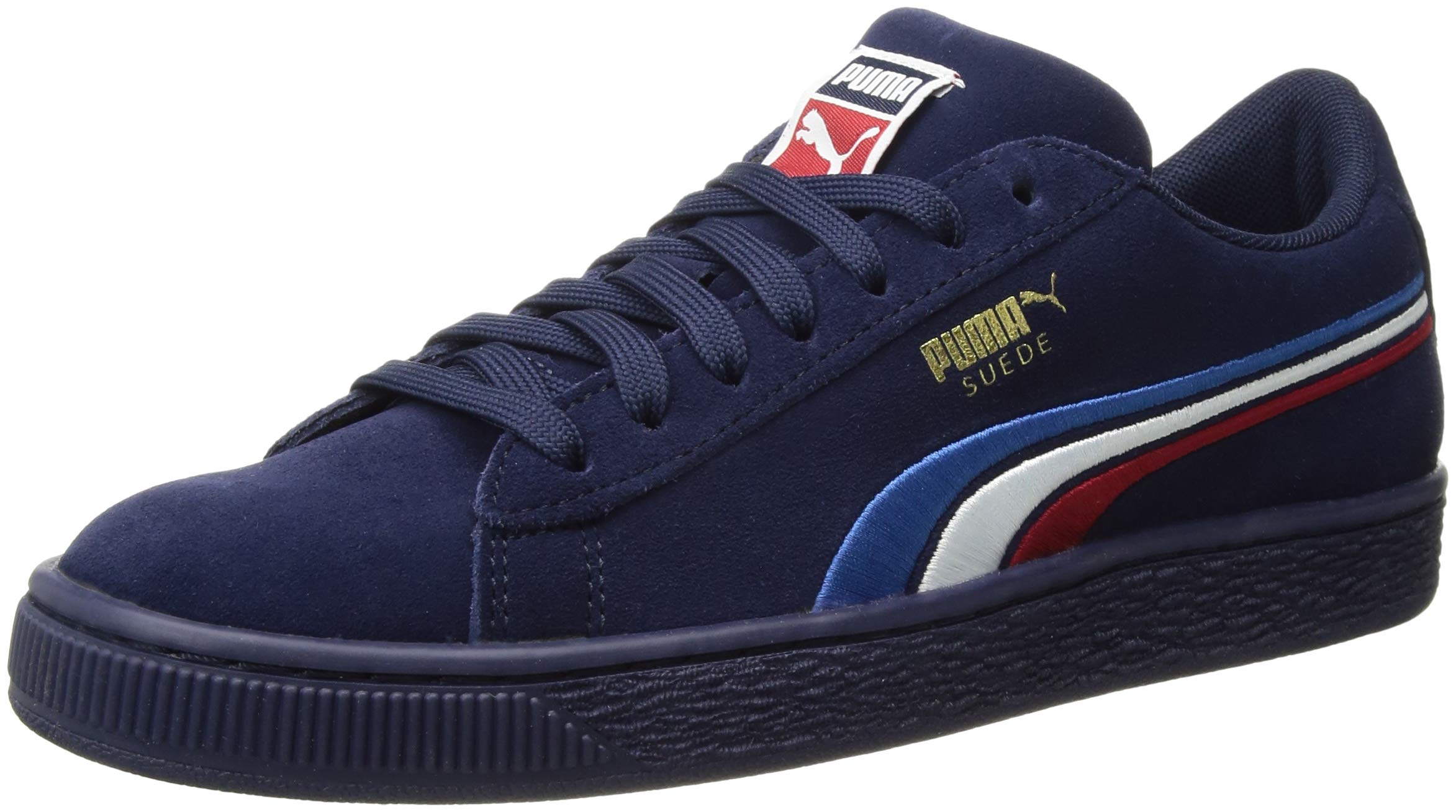 PUMA Unisex Suede Classic Multicolor Emboss Kids Sneaker, Peacoat White-Ribbon red-Strong Blue, 6.5 M US Big