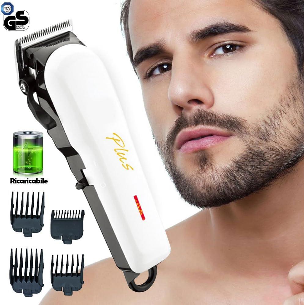Bakaji Talla pelo afeitadora eléctrica recargable con cuchillas de acero al carbono ajuste Barba 4 peines 3 6 10 13 mm portátil de viaje: Amazon.es: Salud y cuidado personal