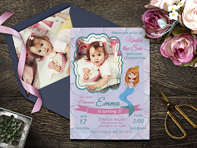 Image Unavailable Not Available For Color Mermaid Photo Birthday Invitations