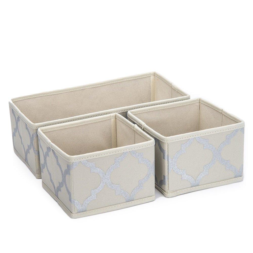 Sorbus Foldable Storage Drawer Closet Dresser Organizer Bins - 3 Piece Set - Beige DOK3