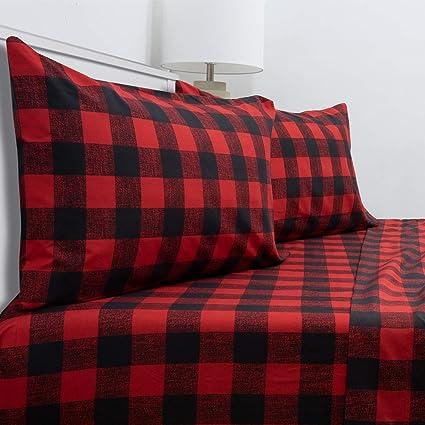 Buffalo Check Sheet Set Burgundy//Black and Solid Black Comforter