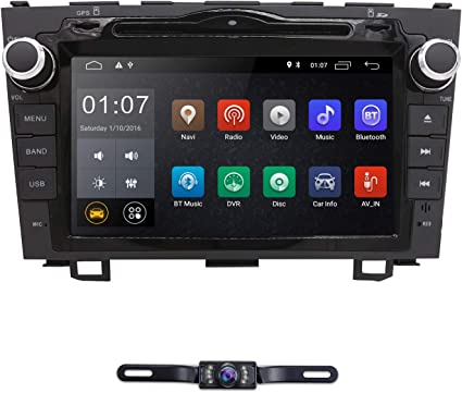 hizpo Android 9.0 Car Radio for Honda CRV CR-V 2007 2008 2009 2010 2011 8 inch DVD Player WiFi GPS Navigation Stereo Bluetooth + Camera