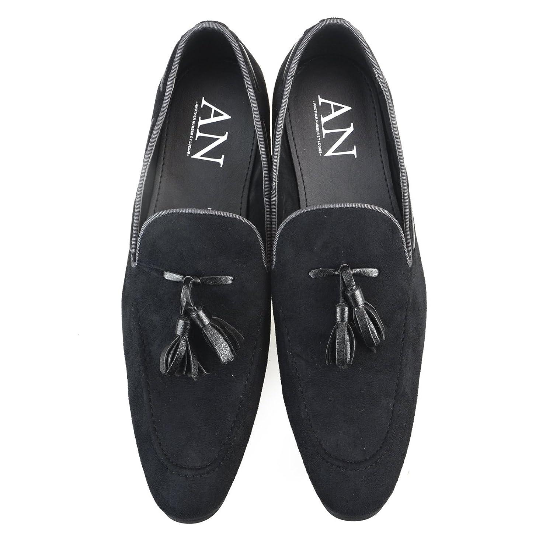 AN Mens Casaul Suede Tassel Loafers Dress Shoes Slip on Loafer Black Beige Khaki