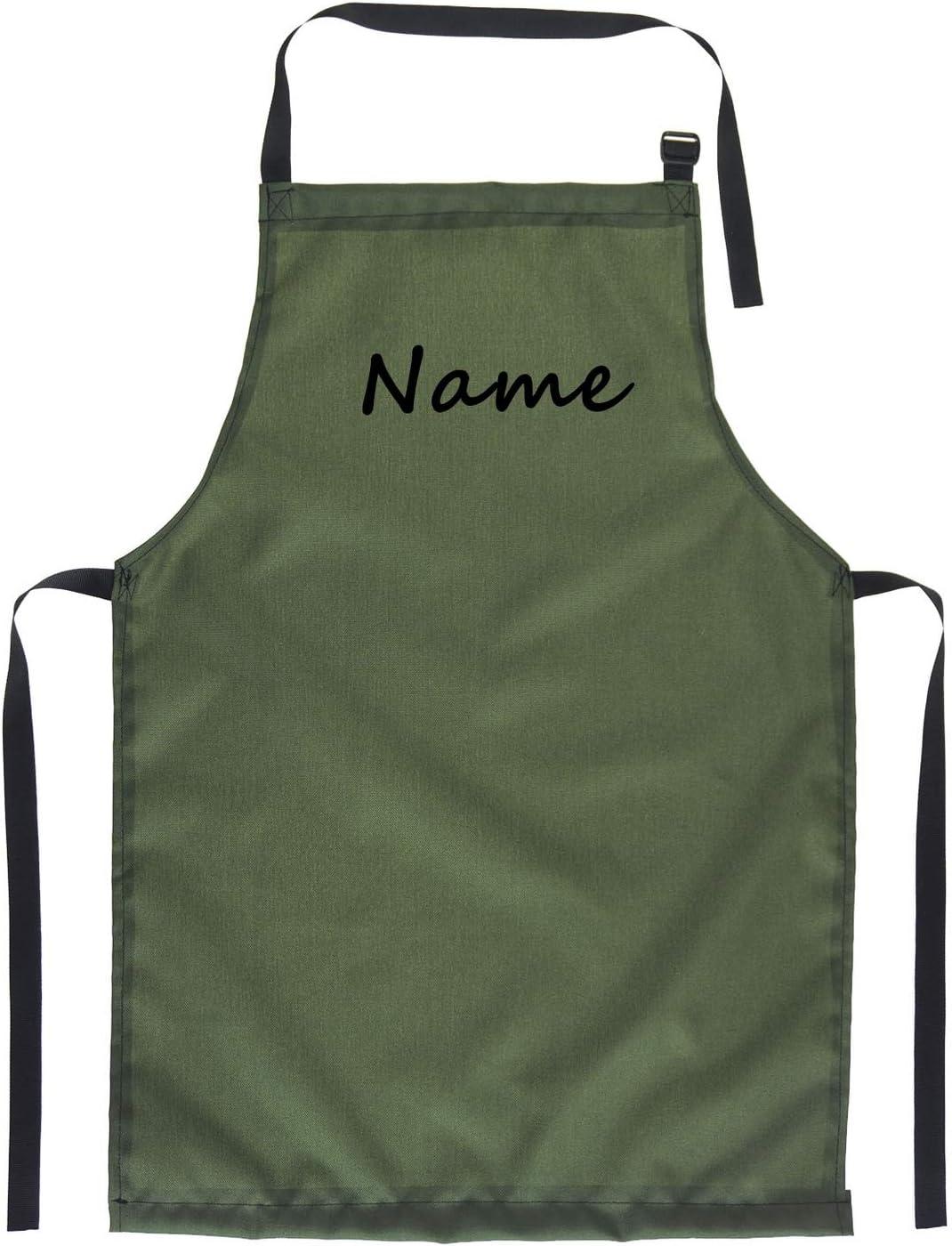 Divertido Delantal para barbacoas para Hombres y Mujeres Delantal de Cocina con diseño Cocinar Delantales de BBQ Verde con Nombre [106]
