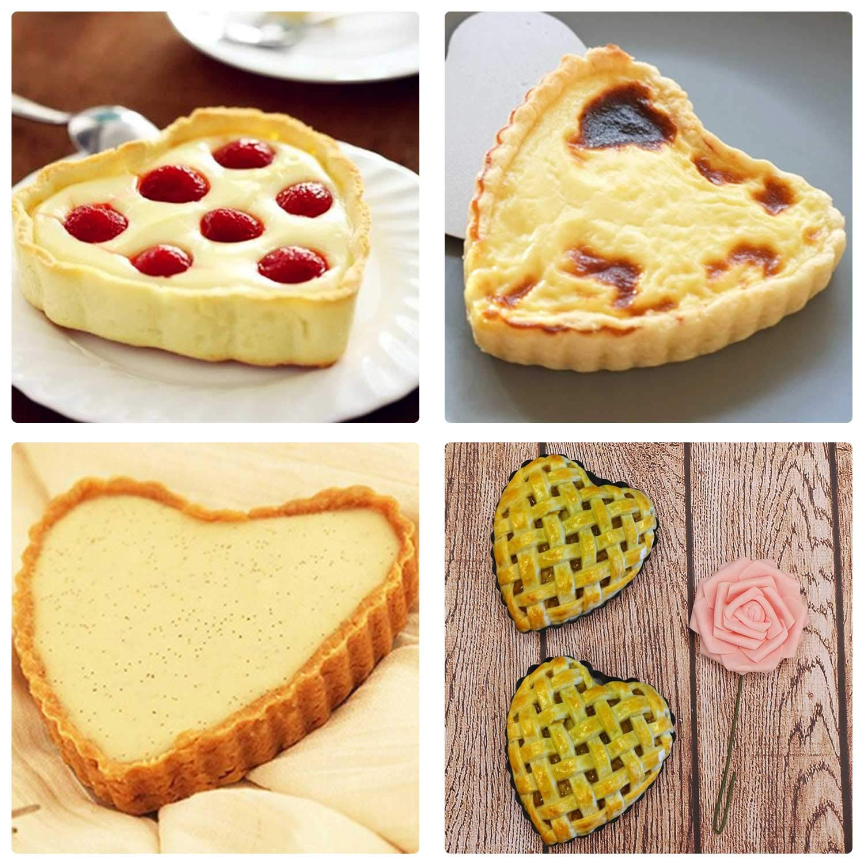 Quiche Pan, Beasea 6pcs 4 Inch Non Stick Pie Pan Heart Shape Tart Pan Removable Bottom Mini Tart Pans by Beasea (Image #1)